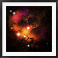 Framed Cosmic space image of a Nebula in the universe