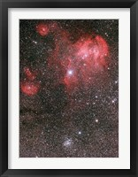 Framed Bat Nebula (IC 2948) and open star cluster NGC 3766, the Pearl Cluster