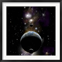 Framed Earth type world with two moons against a background of Nebula and stars