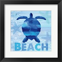 Framed Sea Glass Turtle