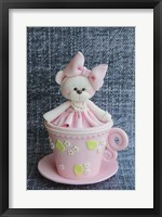 Framed Teddy In Cup Pink