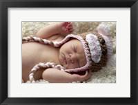 Baby Knit Monkey Hat Framed Print