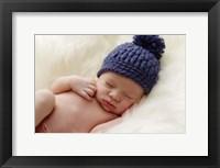 Baby In Blue Pom Hat Framed Print