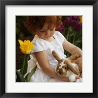 Framed Little Girl And Bunny
