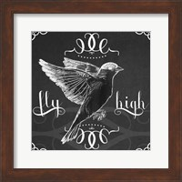 Framed Chalkboard Bird I