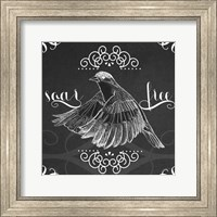 Framed Chalkboard Bird II