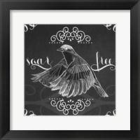 Framed Chalkboard Bird II