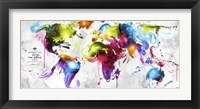 Framed Abstract Map - World