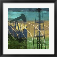 Framed Oil Rig & Oil Well Collage