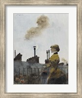 Framed Young Woman On A Balcony In Profile