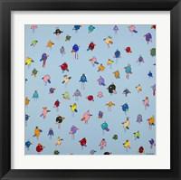 Framed Big Little Birds Blue
