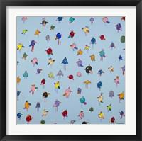 Big Little Birds Blue Framed Print