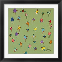 Framed Little Birds - Green