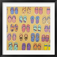 Flip Flops - Yellow Framed Print