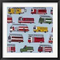 Fire Trucks Blue Framed Print