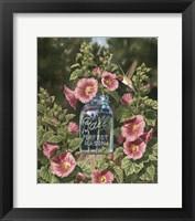 Framed Summer Hollyhocks