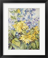 Framed Sunflowers & Blue Delphinium