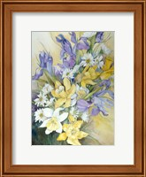 Framed Iris, Daisies, And Daffodils