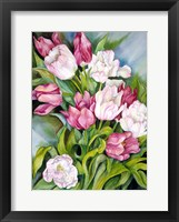 Framed Light Pink And Dark Tulips