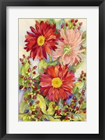 Framed Red Gerbera Daisies And Berries