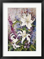 Framed White Oriental Lilies & Pink And Purple Delphinium