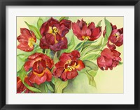 Framed Double Red Tulips