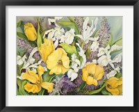 Framed Yellow Tulips, White Iris And Heather