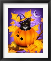 Framed Pumpkin Cat Magic