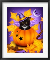 Pumpkin Cat Magic Framed Print
