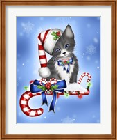Framed Candy Cane Kitten
