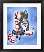 Framed Candy Cane Kitten