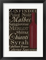 Framed Red Red Wine Bottles