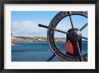 Framed Harbor and Boat Wheel