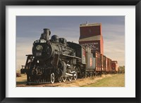 Framed Steam Train and Grain Elevator