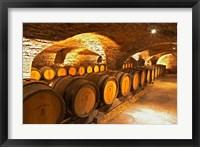 Framed Oak Barrels in Cellar at Domaine Comte Senard