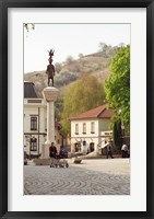 Framed Main Square with Statue, Tokaj, Hungary