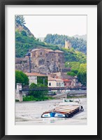 Framed Chateau de Tournon, River Rhone and Pedestrian Bridge M Seguin, Tournon-sur-Rhone, Ardeche, France