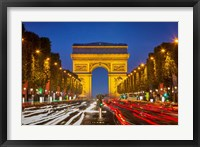 Framed Champs Elysee with Arc de Triomphe at Twilight