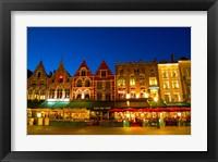 Framed Cafes in Marketplace in Downtown Bruges, Belgium