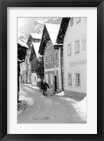 Framed Snowy Street in Hallstat, Austria