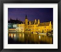 Framed Rozenhoedkaai at Night, Bruges, Belgium