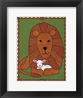 Framed Lamb and Lion Mudcloth