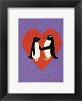 Framed Valentine Penguins
