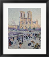 Framed Quai Saint-Michel And Notre-Dame, Paris 1901