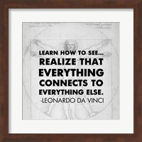 Framed Learn How to See -Da Vinci Quote
