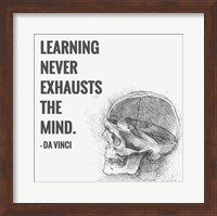 Framed Learning Never Exhausts the Mind -Da Vinci Quote