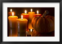 Framed Pumpkins And Candles