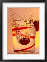 Framed Strawberry Splash In Red Swirl Glass I