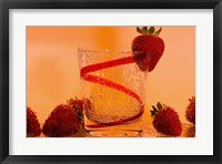 Framed Strawberries And Red Swirl Glass