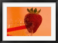Framed Strawberry On Red Swirl Glass